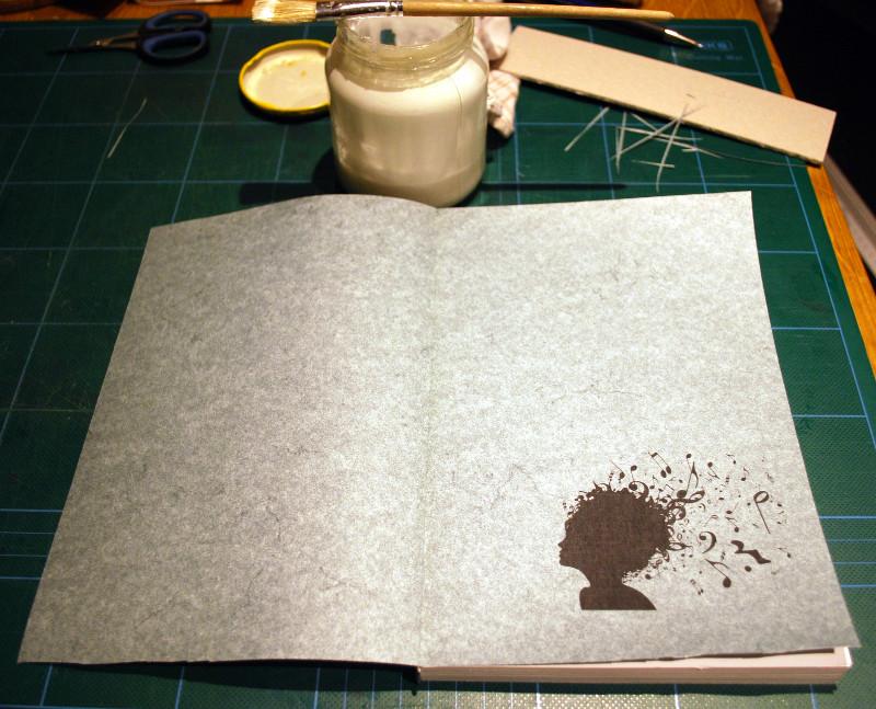 Het schutblad op het boekblok gelijmd